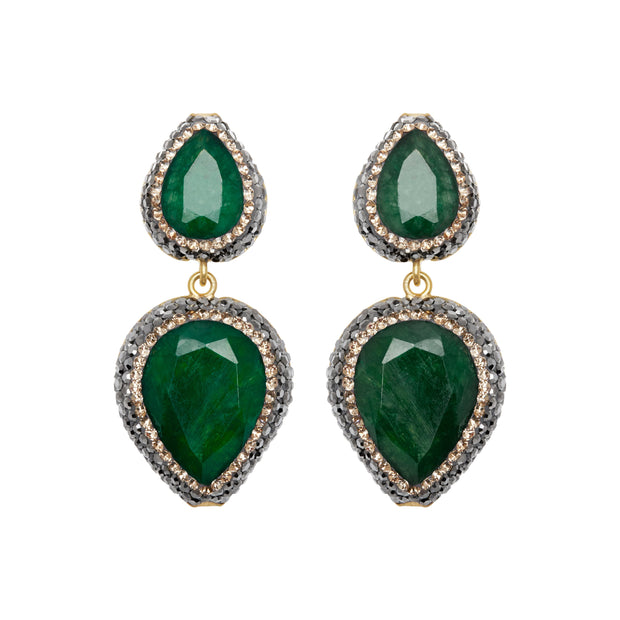 soru jewellery emerald earrings, soru green earrings