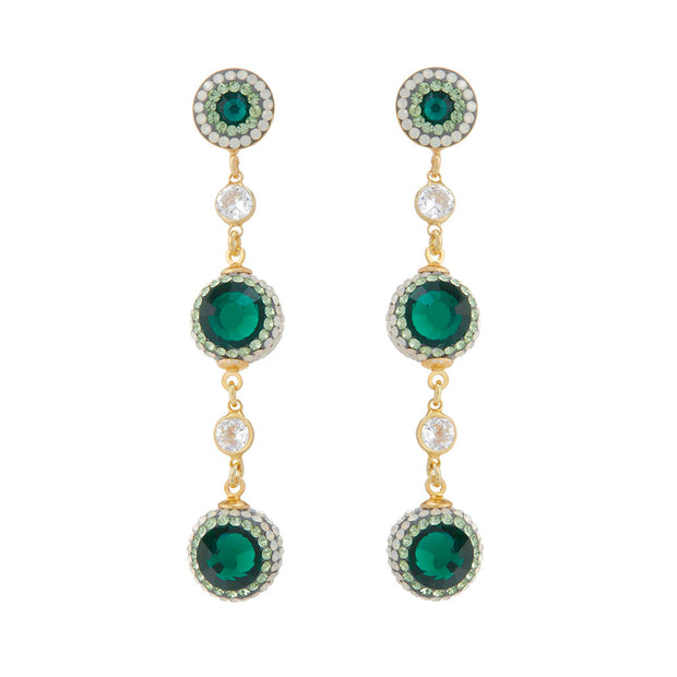 soru green linear crystal earrings emerald