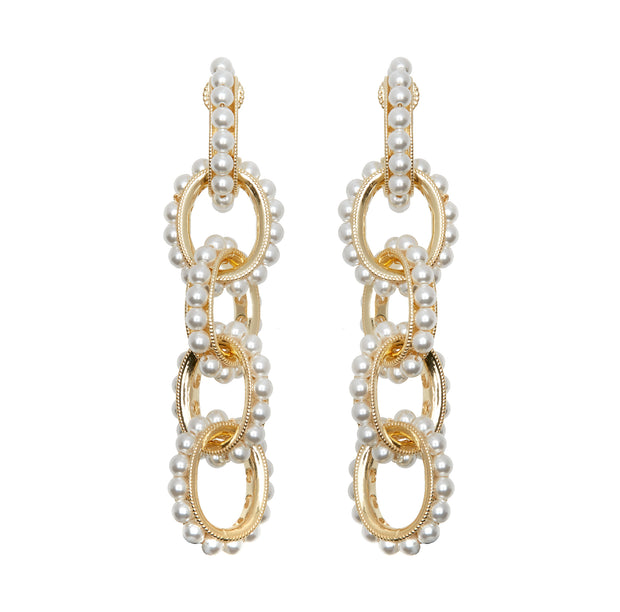 soru jewellery pearl chain link earrings on gold vermeil, seen on celebrities and influencers