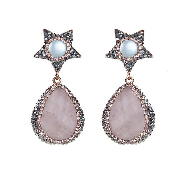 rose quartz bellatrix earrings, rose gold pink earrings