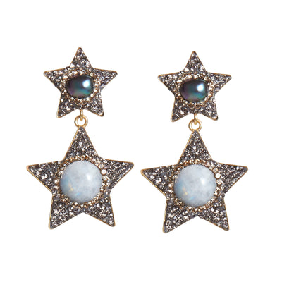 soru jewellery moonstone star earrings, moonstone and pearl soru earrings, celestial