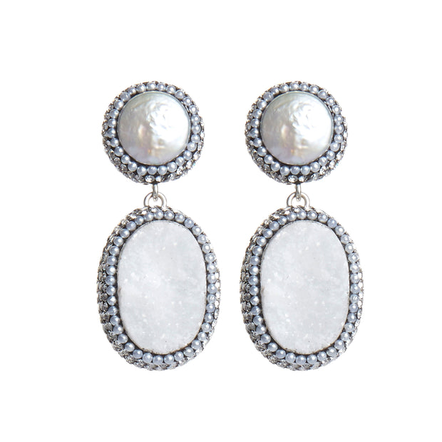 white chalcedony soru jewellery earrings, white soru pearl earrings, silver soru