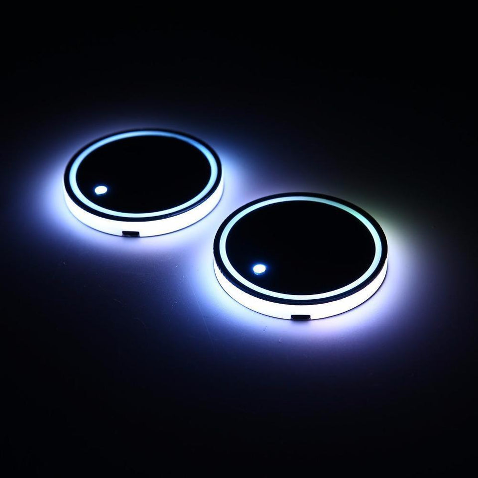 2Pcs Universal Led Car Cup Holder Bottom Pad with Mat LED Light Cover