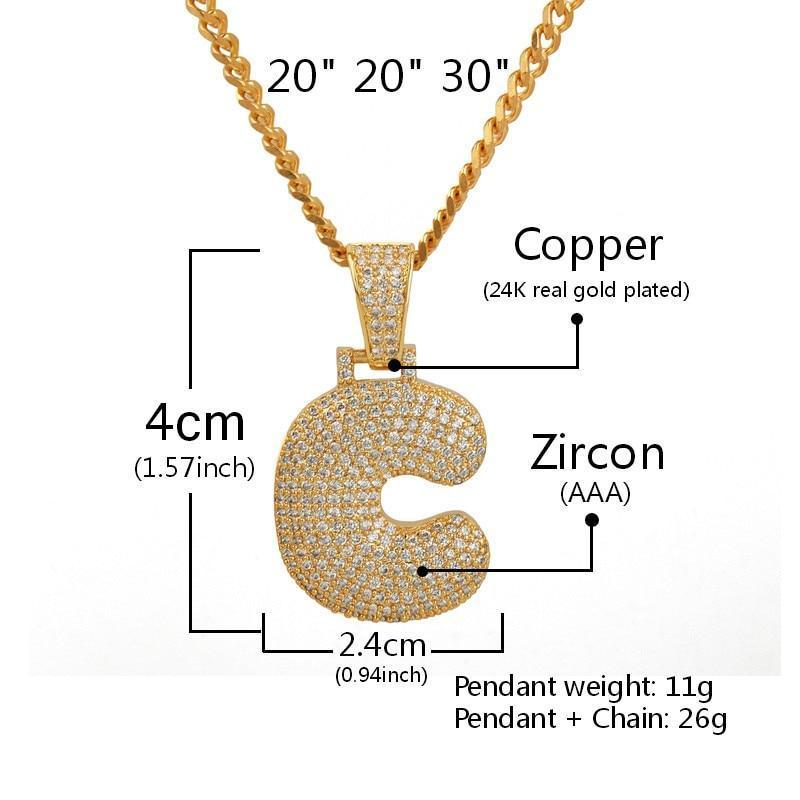A-Z Custom Name Bubble Letters Necklaces & Pendant Chain - Gold/Silver