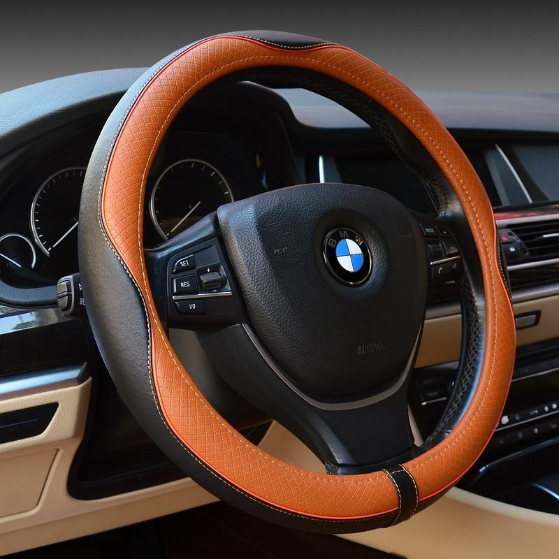 Embossed Steering Wheel Genuine Leather Cover For Interior Car Accessories