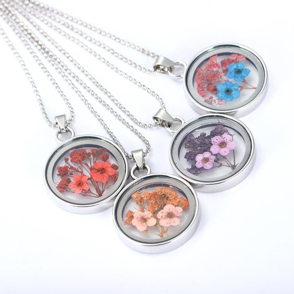 Pressed Flower Necklaces