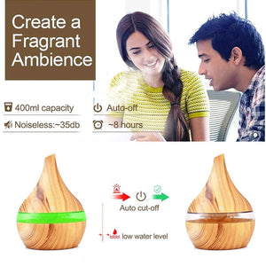 Wood Grain Electric Air Humidifier Ultrasonic Essential Oil Diffuser