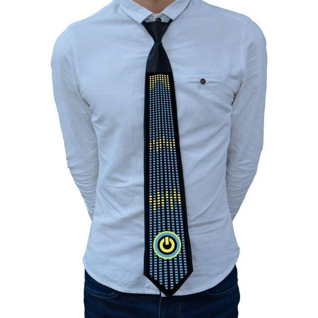 LED Clothing Sound Activated Glow Tie Novelty Necktie
