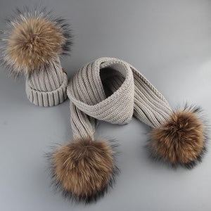Winter Baby Real Fur Pompom Knit Beanie and Scarves Set for Kids