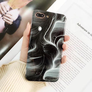 New Luxury Glossy Marble Veins Phone Case For iPhone Cover