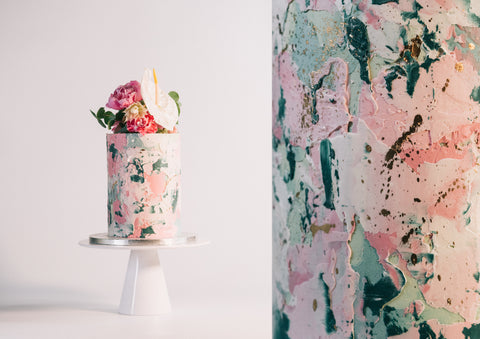 COURSE | TEXTURED MARBLE CAKE | FLORAL DECORATION