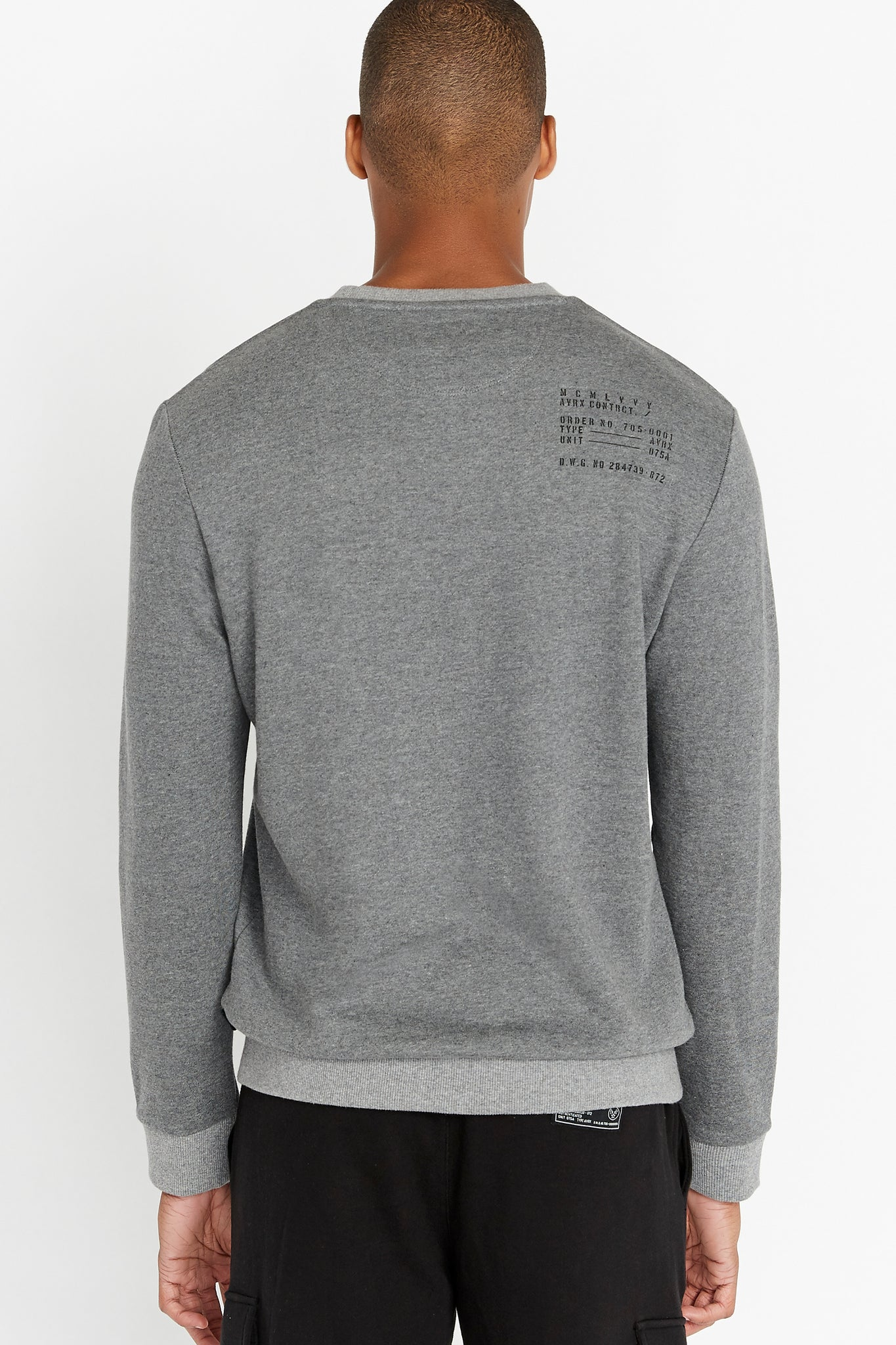 Back view of men wearing a grey long sleeve crew neck sweater with utility print on back shoulder