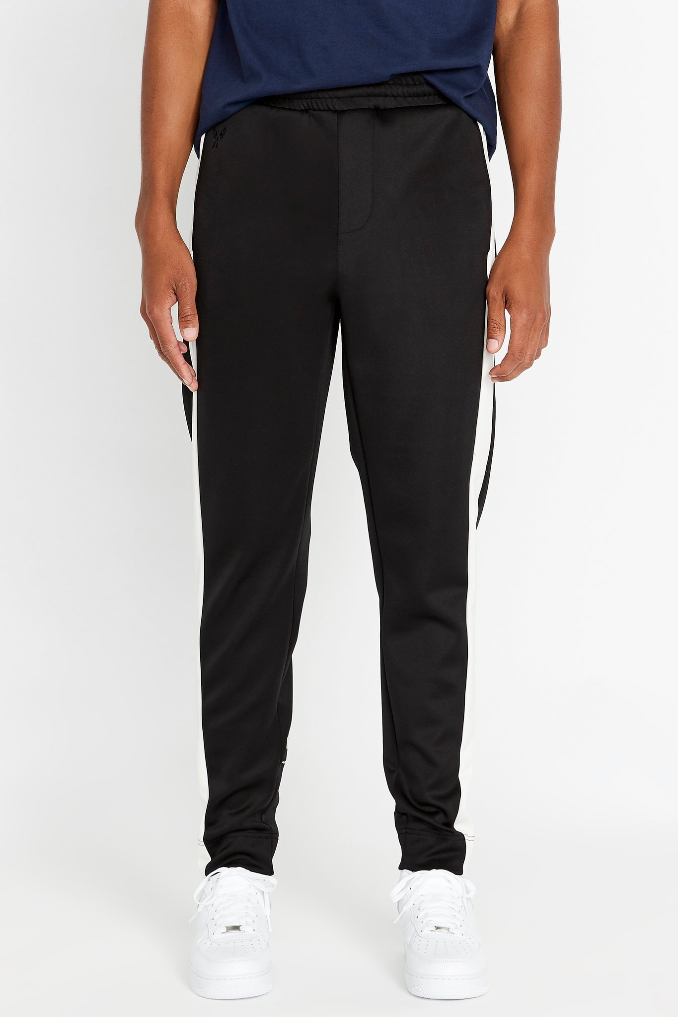 Men's neoprene jogger pants with side white stripe