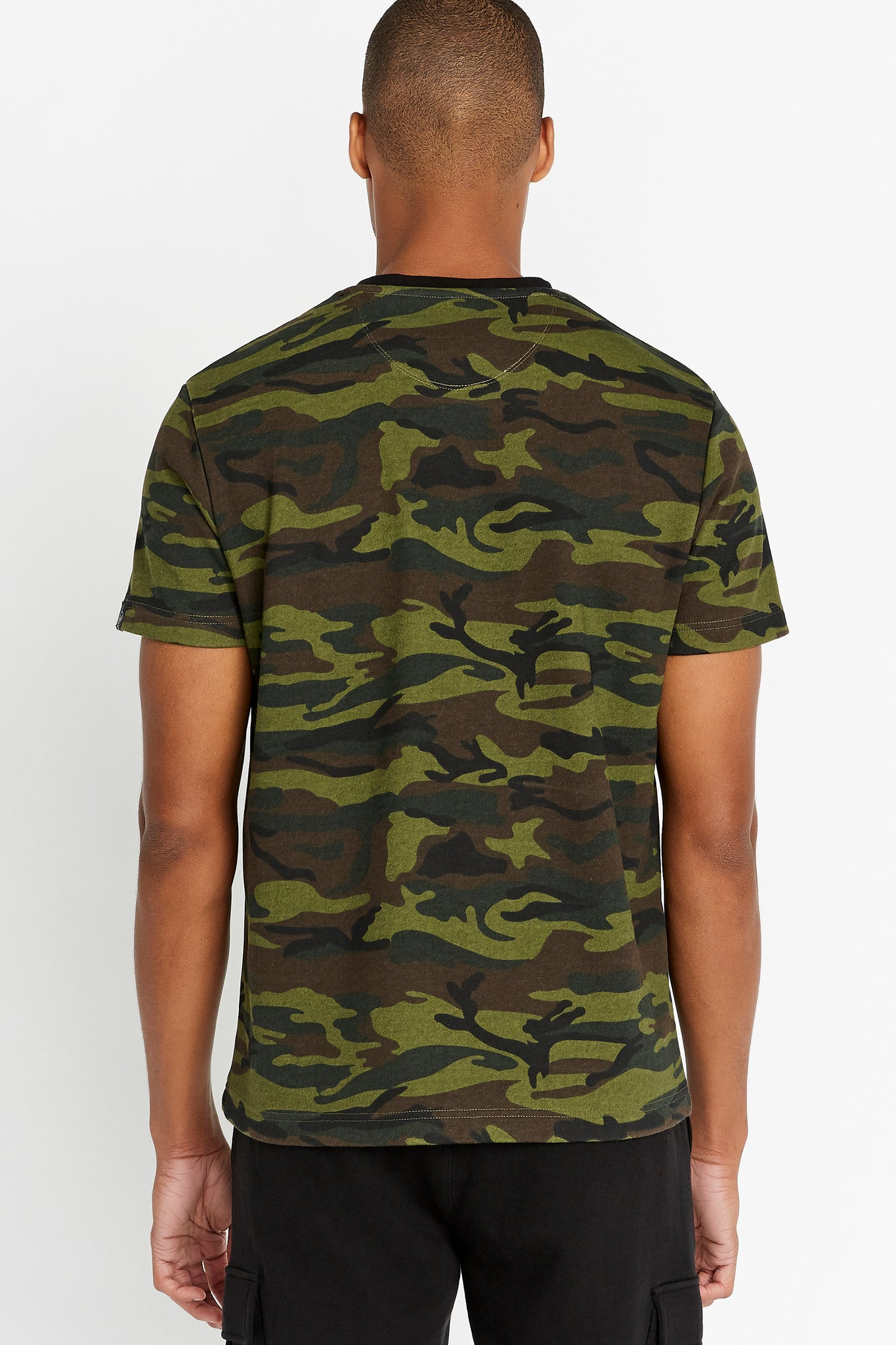 Back view of men wearing a camo print short sleeve crew T-shirt
