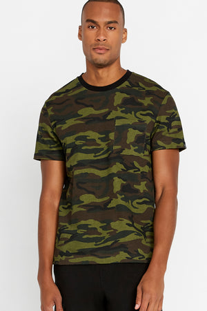 Men wearing a camo print short sleeve crew T-shirt with chest pocket