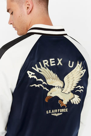 Detailed view of eagle embroidery on the back