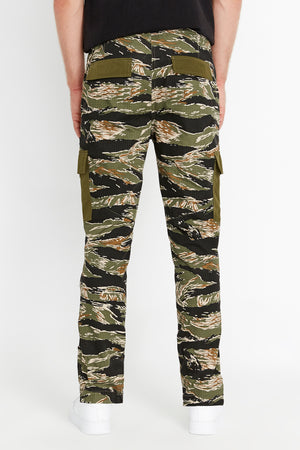 Back view of tigerstripe camo print pants with two flap cover pockets on the back and two side cargo pockets