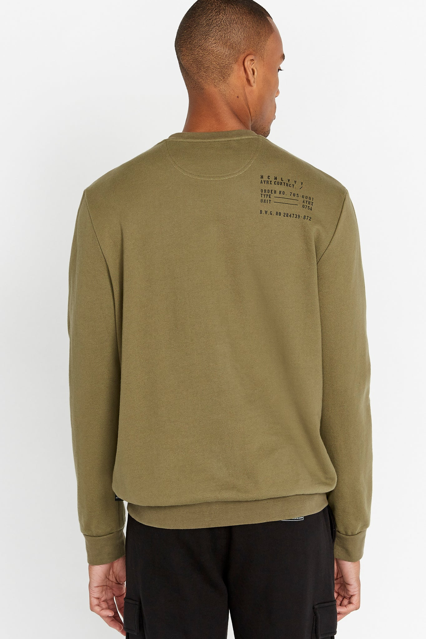 Back view of men wearing an olive long sleeve crew neck sweater with utility print on the back shoulder