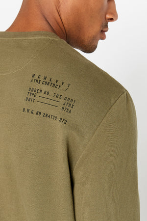Detailed view of utility print on the back shoulder