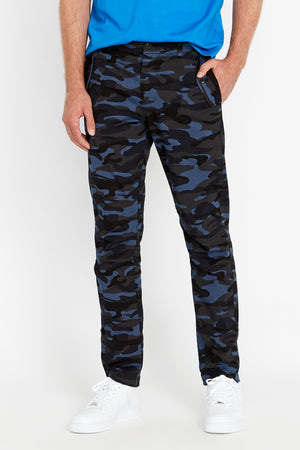 Front view of navy camo print pants with two pockets on the side