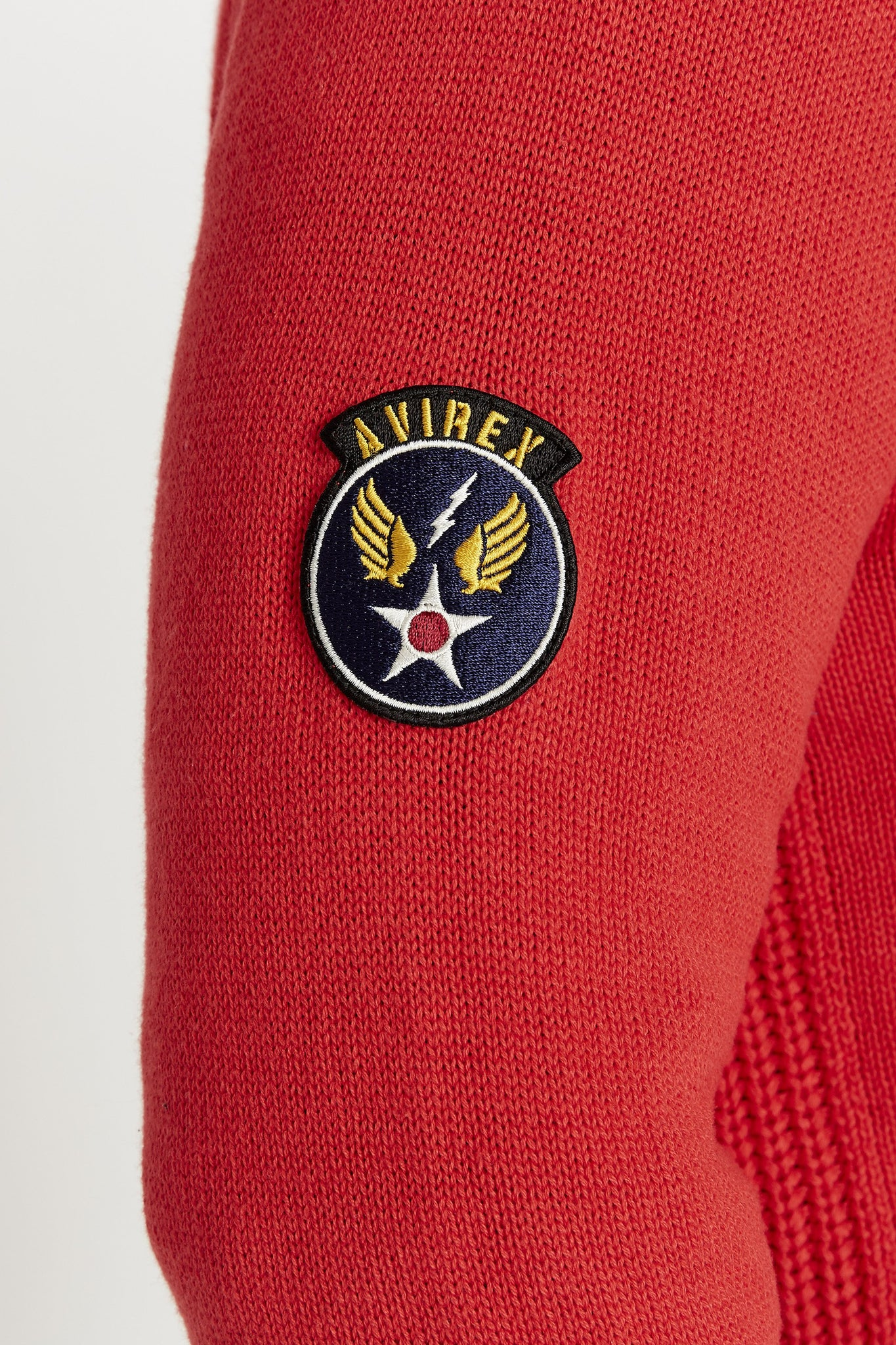 Detailed view of a patch on the right sleeve