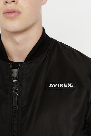 Detailed view of Avirex patch on the left chest