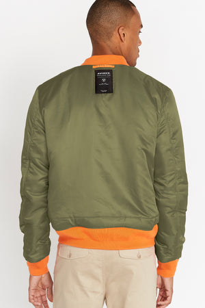 Back view of men wearing a reversed olive aviation bomber nylon jacket with patch under collar