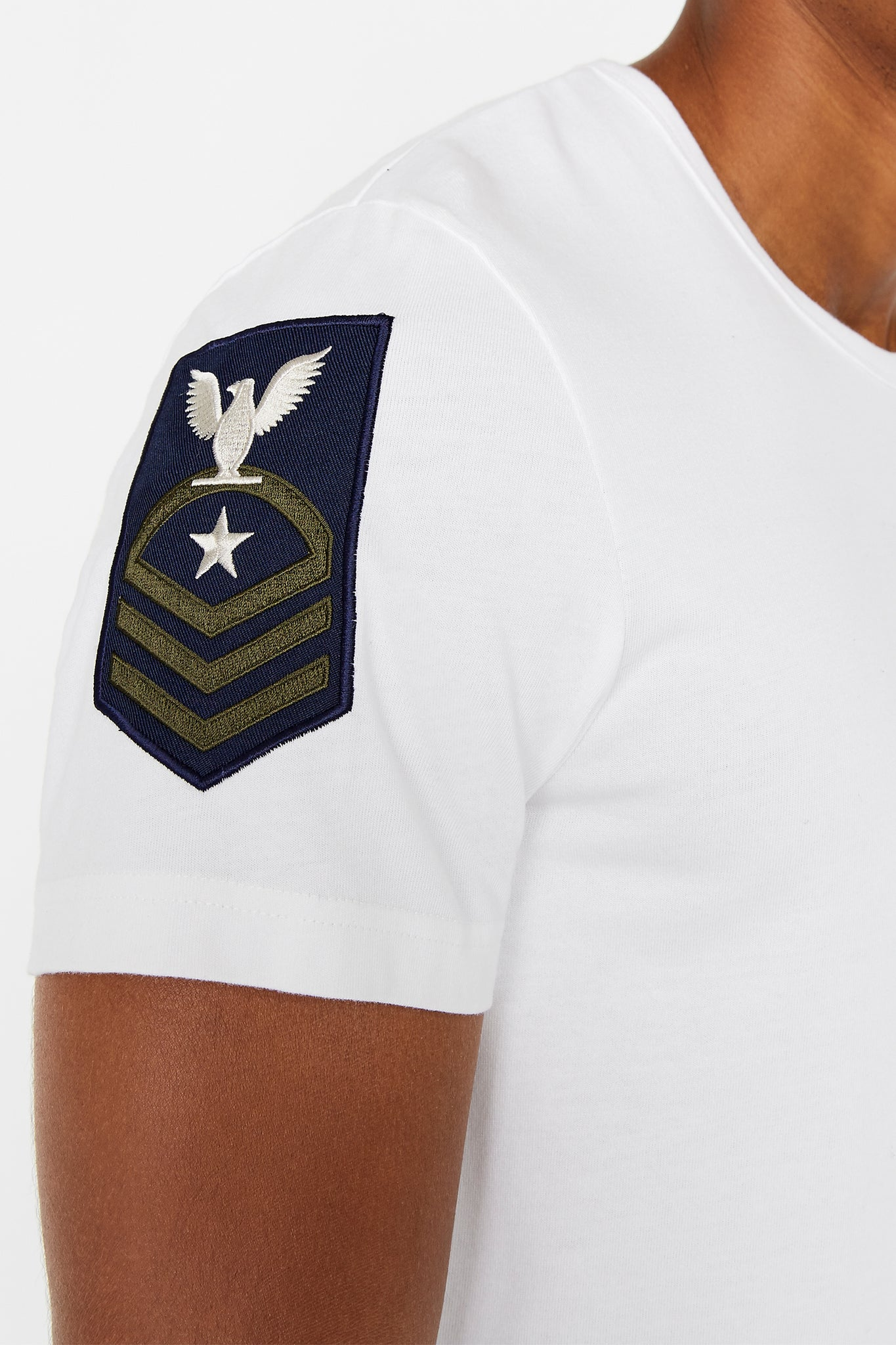 Detailed view of patch on right sleeve