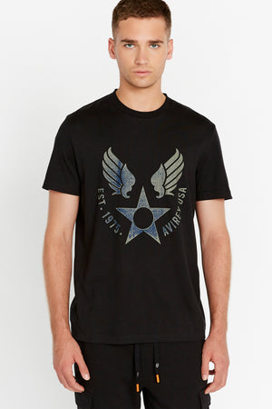 Men wearing a black short sleeve crew T-shirt with front Avirex airforce wing-star print