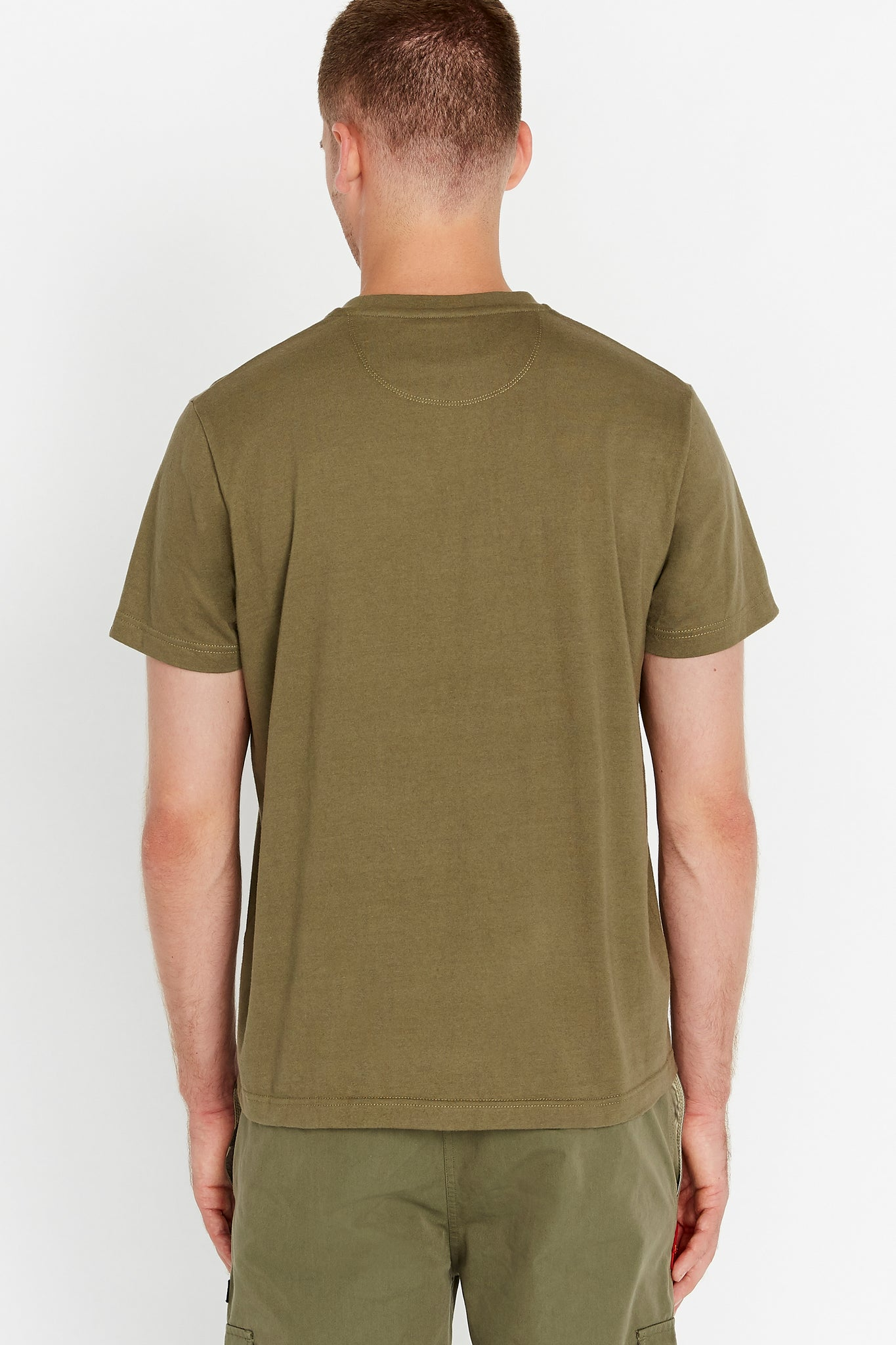 Back view of men wearing an olive short sleeve crew T-shirt