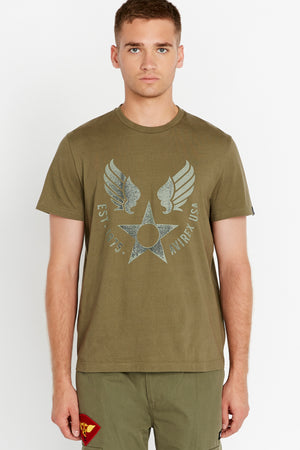 Men wearing an olive short sleeve crew T-shirt with front Avirex airforce wing-star print