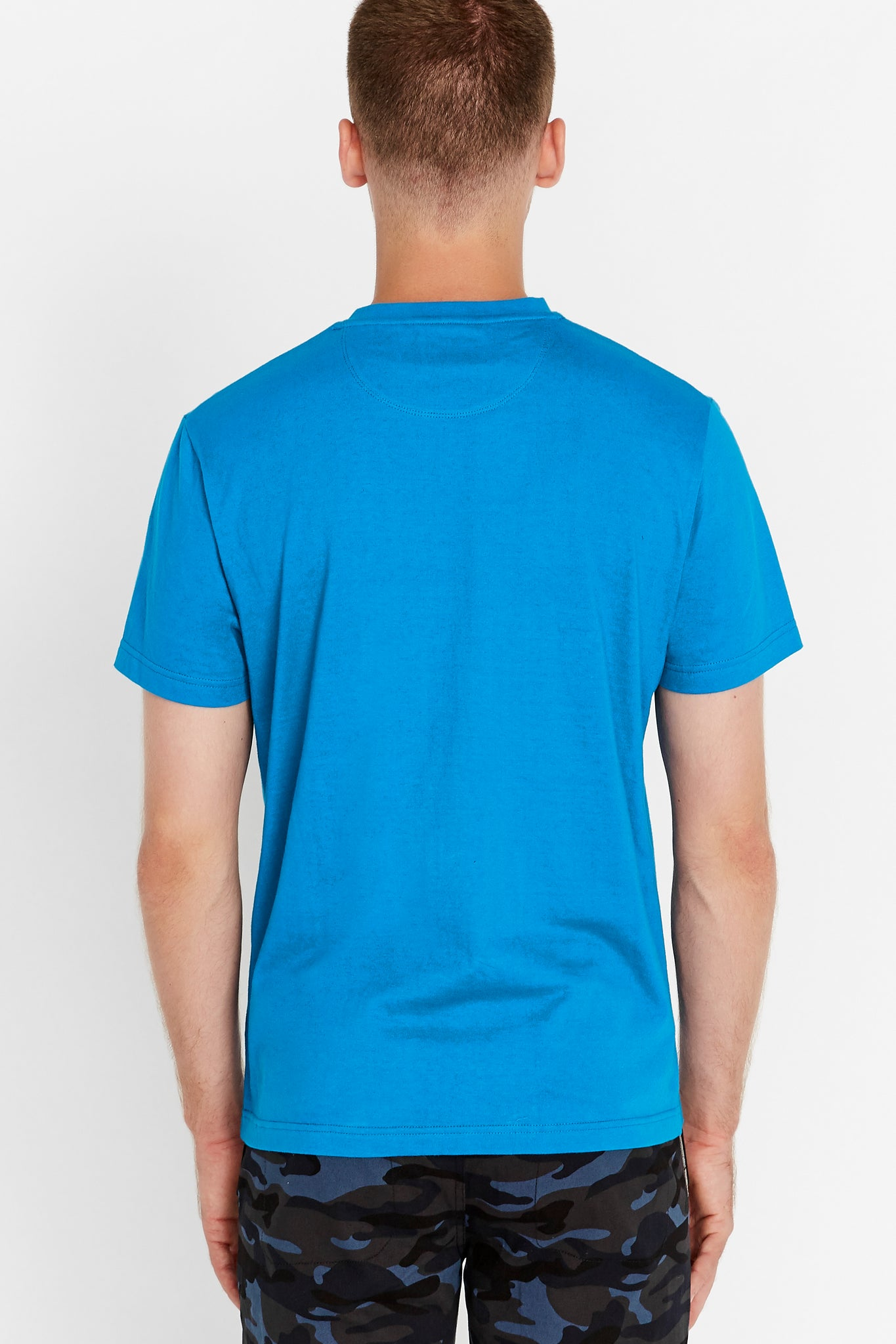 Back view of men wearing a royal blue short sleeve crew T-shirt