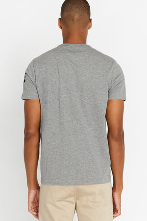Back view of men wearing a light grey short sleeve crew T-shirt