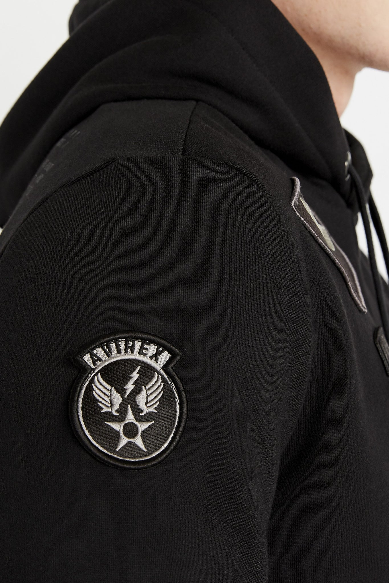 Detailed view of patch on the right sleeve
