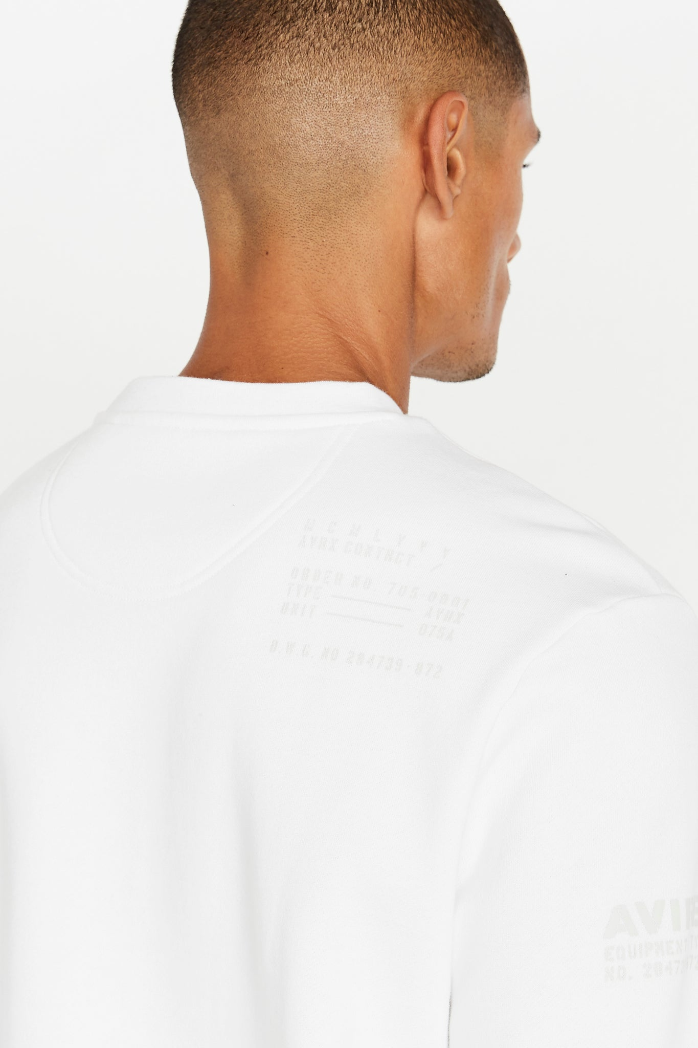 Detailed view of utility print on back shoulder