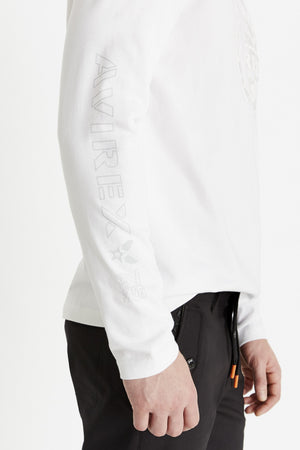 Detailed view of Avirex and logo print on sleeve