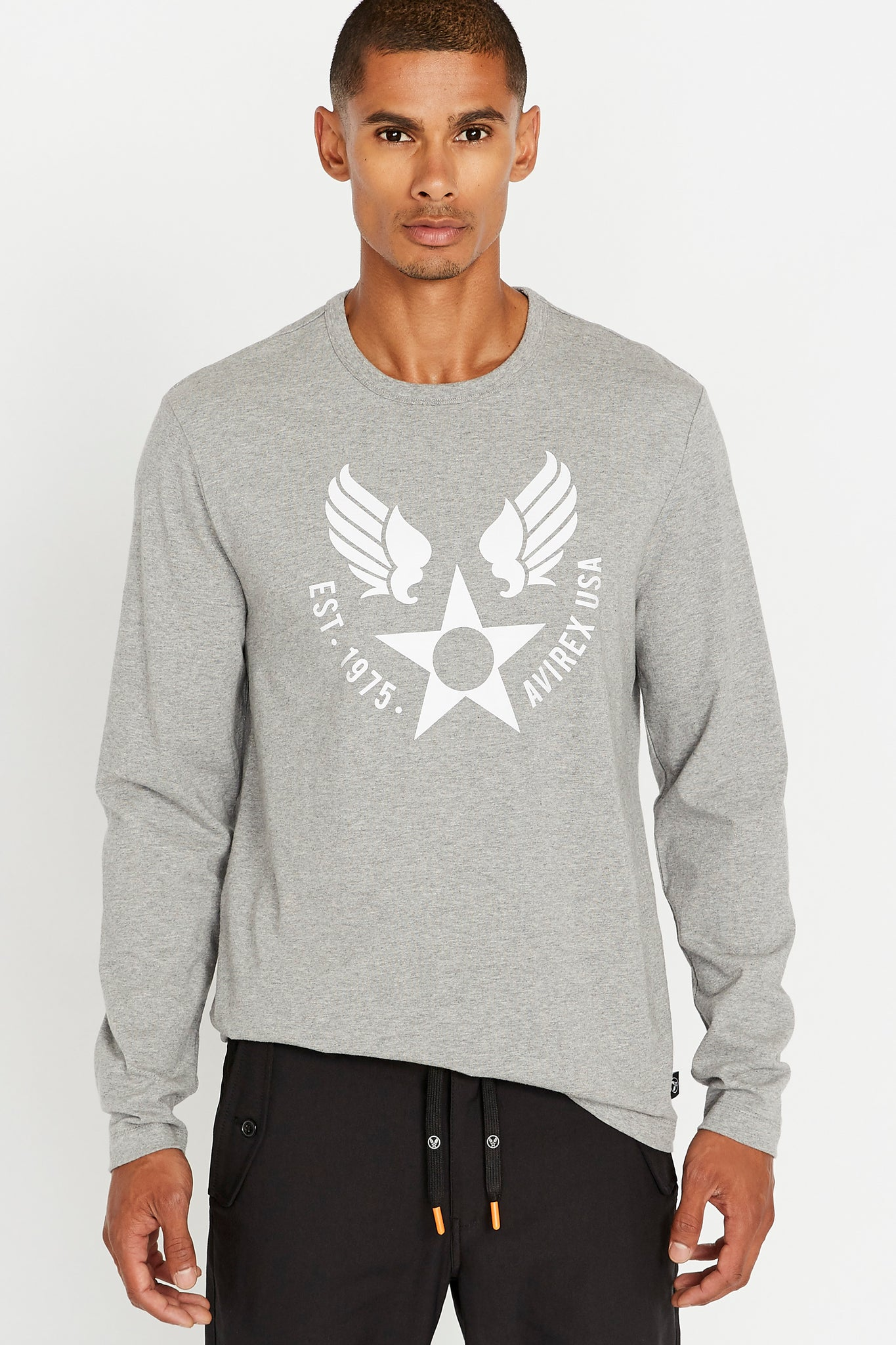 Men wearing a light grey long sleeve crew neck T-shirt with round logo graphic print on chest