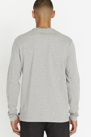 Back view of men wearing a light grey long sleeve crew neck T-shirt