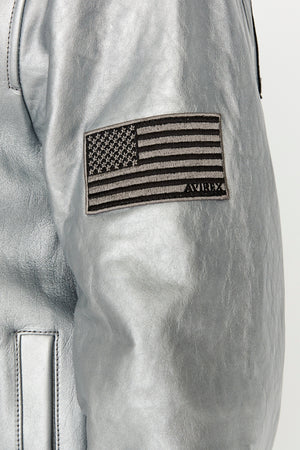 Detailed view of patch on the left sleeve