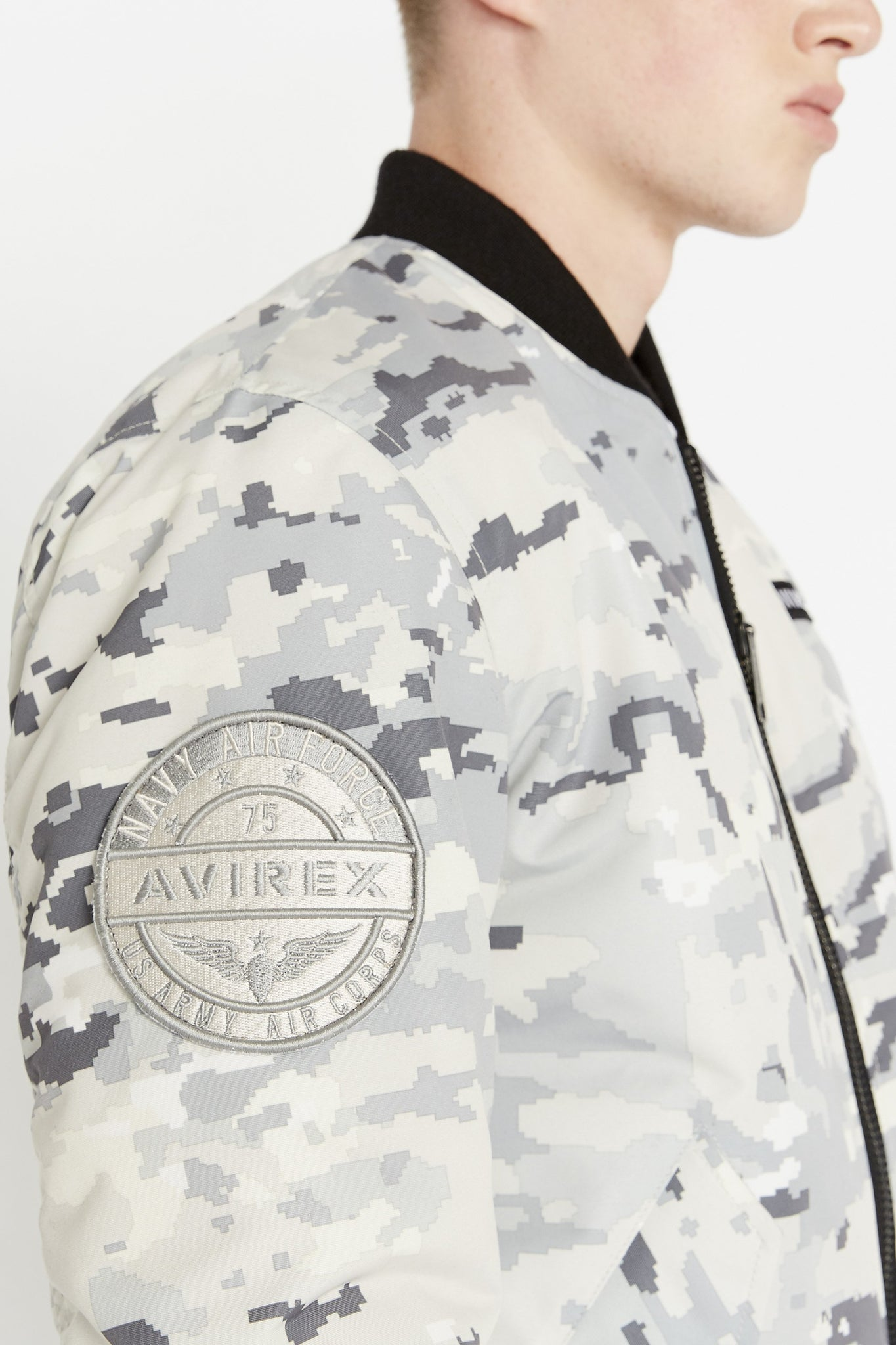 Detailed view of Avirex round patch on the right sleeve