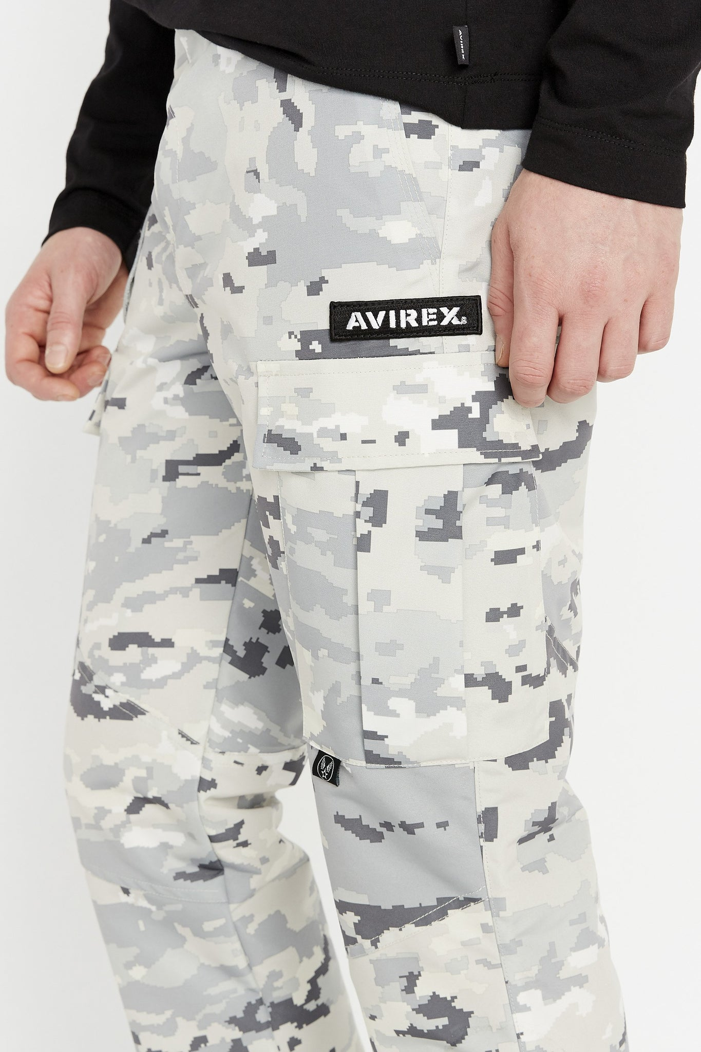 Detailed view of Avirex patch above left side cargo pocket