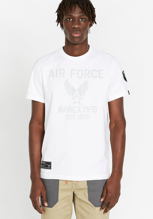 Men wearing a white t-shirt with Avirex Air Force logo print in light grey