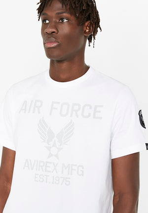 Men wearing a white t-shirt with Avirex Air Force logo in light grey