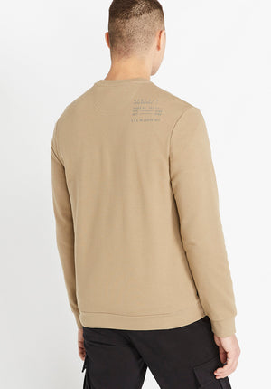 Back view of men wearing a beige long sleeve crew neck sweater with US Army registration on right shoulder