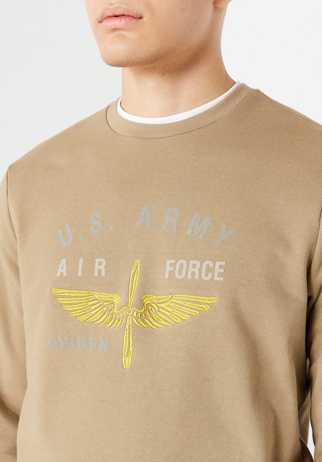 Detailed view of US Army logo.  Yellow wings and white letters saying Air Force