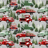 Henry Glass Fabrics - The Tradition Continues - Packed Allover Trucks in Snow - Gray/Red