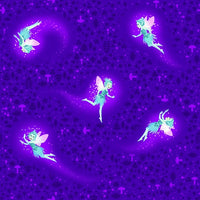Henry Glass Fabrics - Summer Nights Soirée - Multicolor Flying Fairies Glow Purple