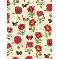 Wilmington Prints - Harlequin Poppies - Poppies & Butterflies Cream