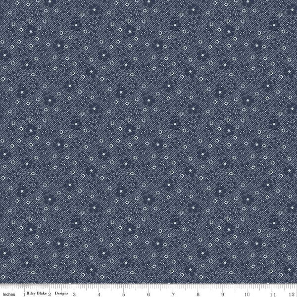 Riley Blake Fabrics - Tranquility - Flowers Navy