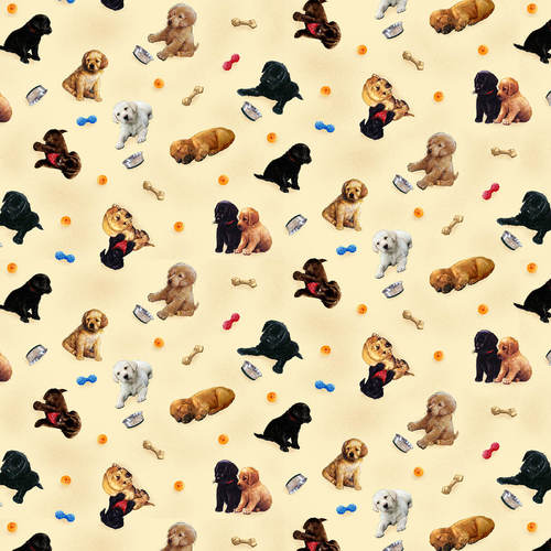 Henry Glass Fabrics - Pups in Garden - Tossed Allover Puppies Cream